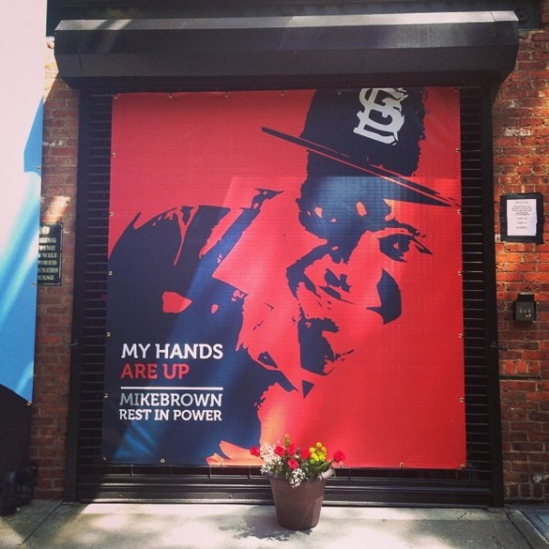 Spike Lee memorial to Mike Brown at the Headquarters Of 40 Acres In Da Republic Of Brooklyn.